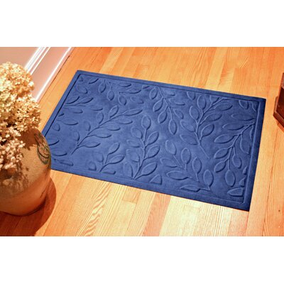 Soft Impressions Britney Leaf Doormat Mat Size: Rectangle 3 x 5, Color: Sky