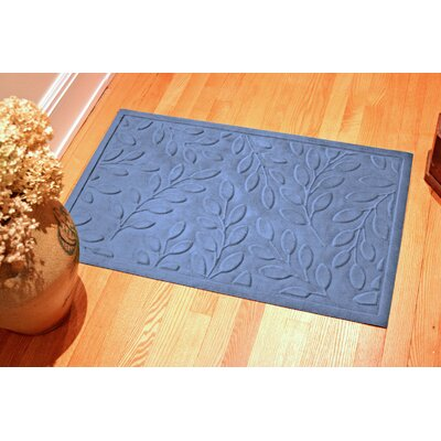Soft Impressions Britney Leaf Doormat Color: Navy, Rug Size: 3 x 5