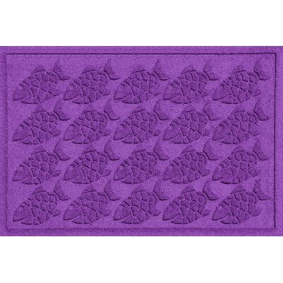 Aqua Shield Tropical Fish Doormat Rug Size: 2 x 3, Color: Purple