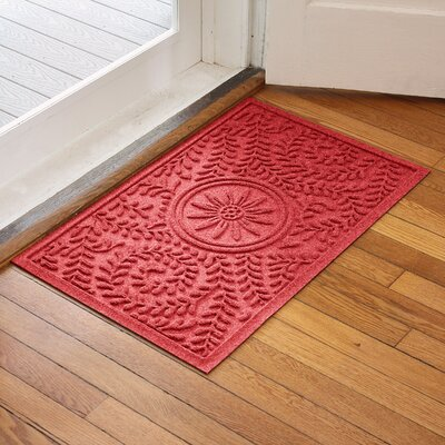 Aqua Shield Boxwood Flower Doormat Color: Solid Red