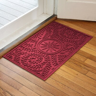 Aqua Shield Boxwood Flower Doormat Color: Red/Black