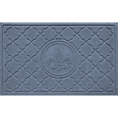 Aqua Shield Bombay Fleur de Lis Doormat Color: Bluestone