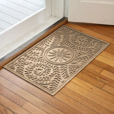 Aqua Shield Boxwood Flower Doormat Color: Camel