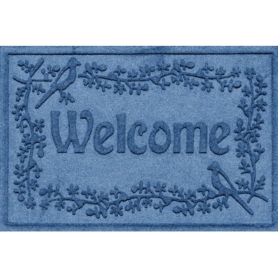 Aqua Shield Bird on a Branch Welcome Doormat Color: Medium Blue