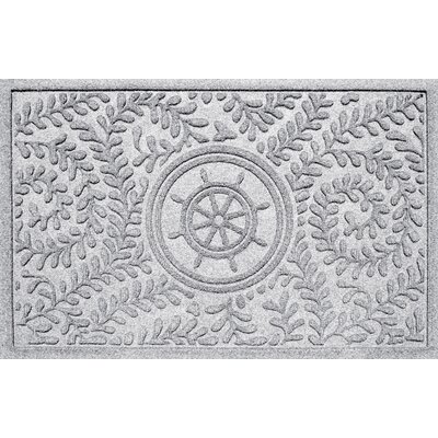 Aqua Shield Boxwood Ships Wheel Doormat Color: White