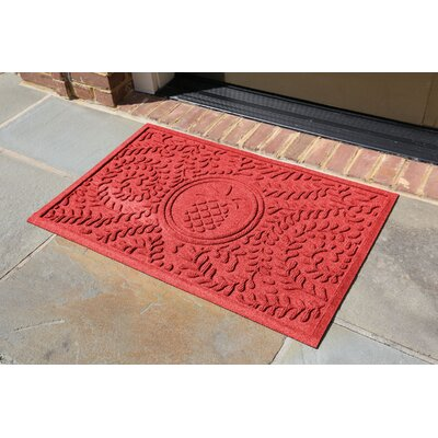 Conway Boxwood Pineapple Doormat Color: Solid Red