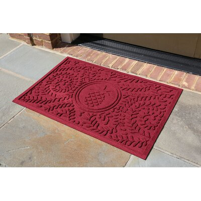 Conway Boxwood Pineapple Doormat Color: Red/Black