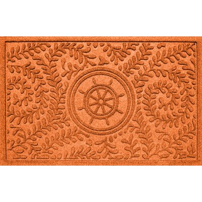 Aqua Shield Boxwood Ships Wheel Doormat Color: Orange