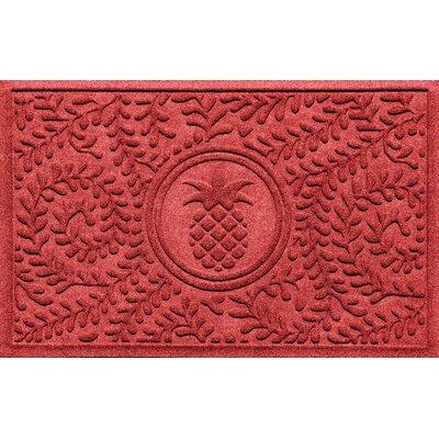 Aqua Shield Boxwood Pineapple Doormat Color: Solid Red