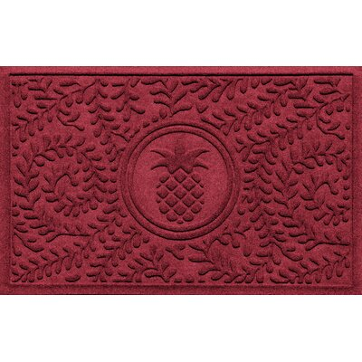 Aqua Shield Boxwood Pineapple Doormat Color: Red/Black