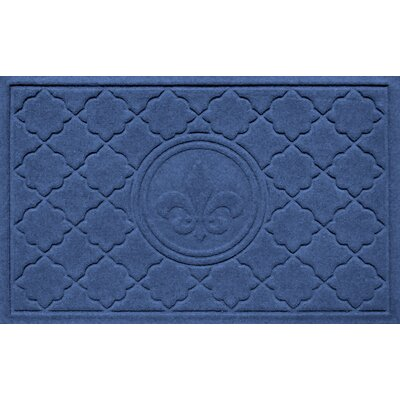 Aqua Shield Bombay Fleur de Lis Doormat Color: Navy