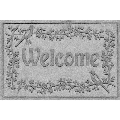 Aqua Shield Bird on a Branch Welcome Doormat Color: Medium Gray