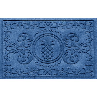 Aqua Shield Baroque Pineapple Doormat Color: Medium Blue