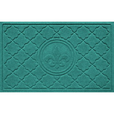 Aqua Shield Bombay Fleur de Lis Doormat Color: Aquamarine