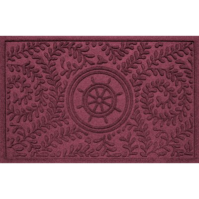 Aqua Shield Boxwood Ships Wheel Doormat Color: Bordeaux