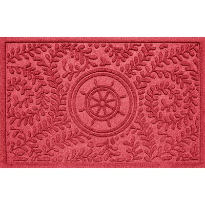 Aqua Shield Boxwood Ships Wheel Doormat Color: Solid Red