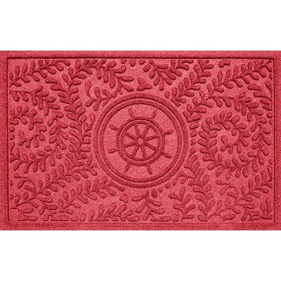 Aqua Shield Boxwood Ships Wheel Doormat Color: Solid Red