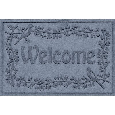 Aqua Shield Bird on a Branch Welcome Doormat Color: Bluestone