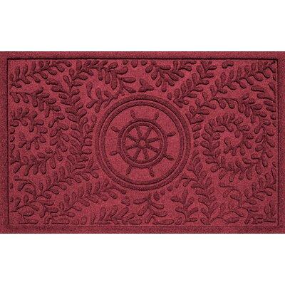 Aqua Shield Boxwood Ships Wheel Doormat Color: Red/Black