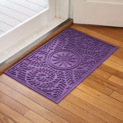 Aqua Shield Boxwood Flower Doormat Color: Purple