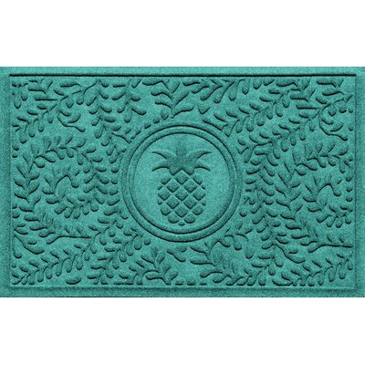 Aqua Shield Boxwood Pineapple Doormat Color: Aquamarine