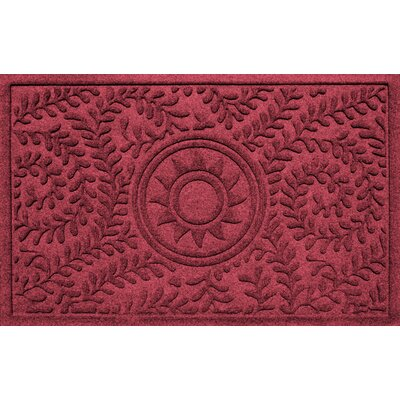 Conway Boxwood Sun Doormat Color: Red/Black