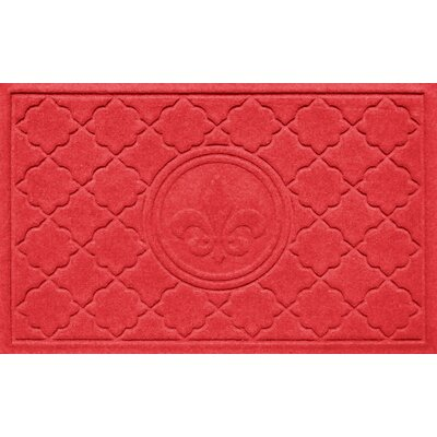 Aqua Shield Bombay Fleur de Lis Doormat Color: Solid Red