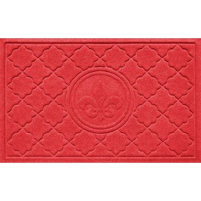 Aqua Shield Bombay Fleur de Lis Doormat Color: Solid Red