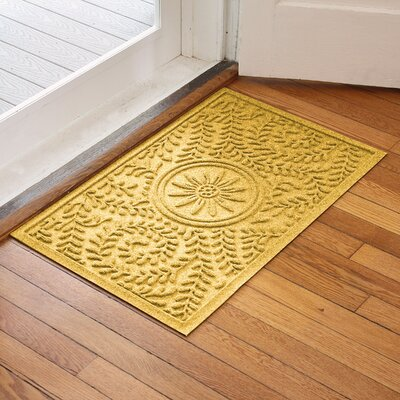 Aqua Shield Boxwood Flower Doormat Color: Yellow