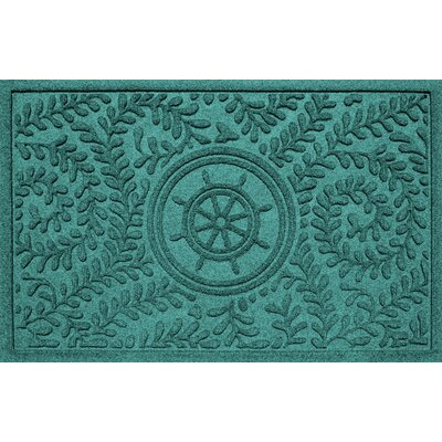 Aqua Shield Boxwood Ships Wheel Doormat Color: Aquamarine