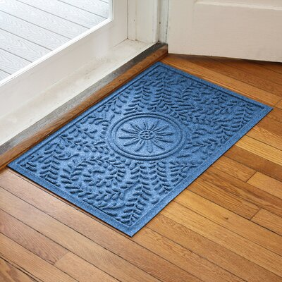 Aqua Shield Boxwood Flower Doormat Color: Medium Blue