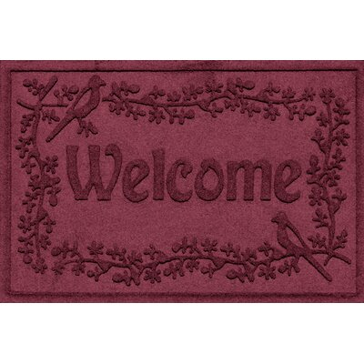 Aqua Shield Bird on a Branch Welcome Doormat Color: Bordeaux