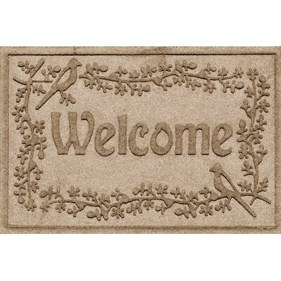 Aqua Shield Bird on a Branch Welcome Doormat Color: Camel