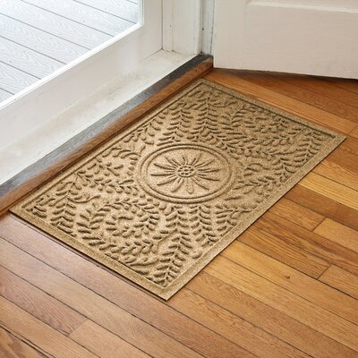 Aqua Shield Boxwood Flower Doormat Color: Gold