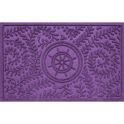 Aqua Shield Boxwood Ships Wheel Doormat Color: Purple