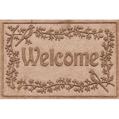 Aqua Shield Bird on a Branch Welcome Doormat Color: Medium Brown