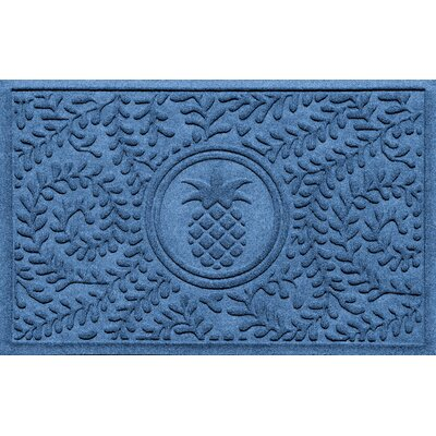 Aqua Shield Boxwood Pineapple Doormat Color: Medium Blue
