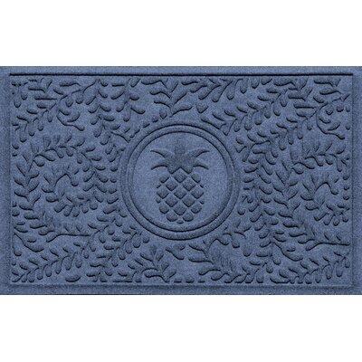 Aqua Shield Boxwood Pineapple Doormat Color: Navy