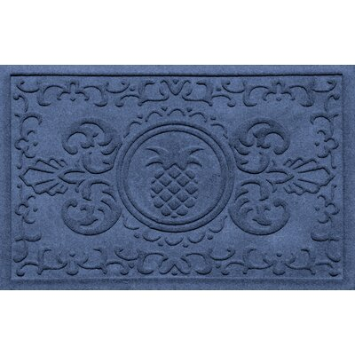 Aqua Shield Baroque Pineapple Doormat Color: Navy