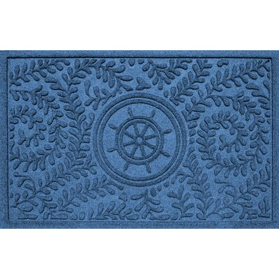 Aqua Shield Boxwood Ships Wheel Doormat Color: Medium Blue