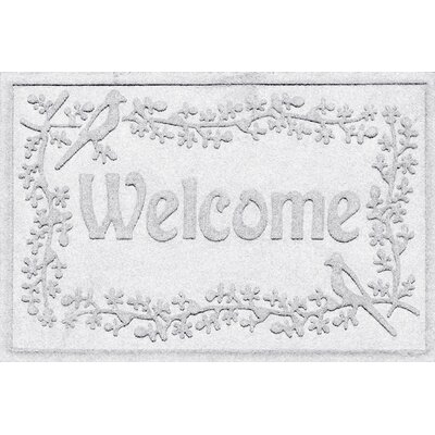 Aqua Shield Bird on a Branch Welcome Doormat Color: White