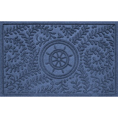 Aqua Shield Boxwood Ships Wheel Doormat Color: Navy