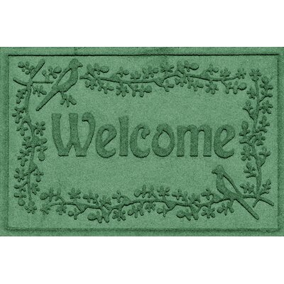 Aqua Shield Bird on a Branch Welcome Doormat Color: Light Green