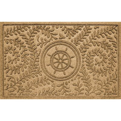 Aqua Shield Boxwood Ships Wheel Doormat Color: Gold