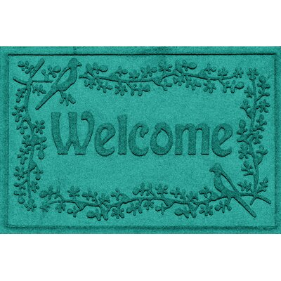 Aqua Shield Bird on a Branch Welcome Doormat Color: Aquamarine
