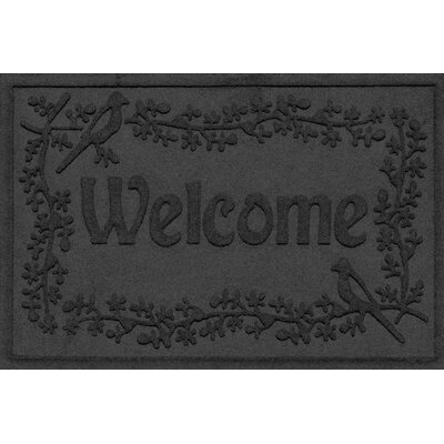 Aqua Shield Bird on a Branch Welcome Doormat Color: Charcoal