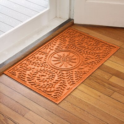 Aqua Shield Boxwood Flower Doormat Color: Orange