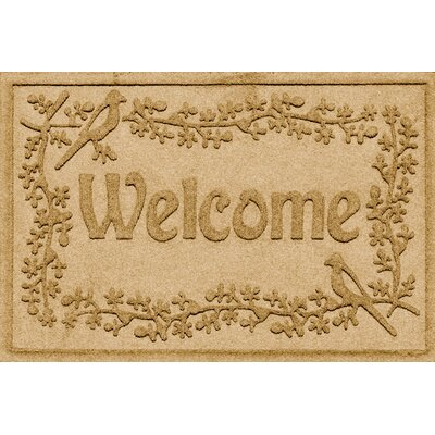 Aqua Shield Bird on a Branch Welcome Doormat Color: Gold