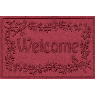 Aqua Shield Bird on a Branch Welcome Doormat Color: Red/Black