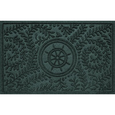 Aqua Shield Boxwood Ships Wheel Doormat Color: Evergreen